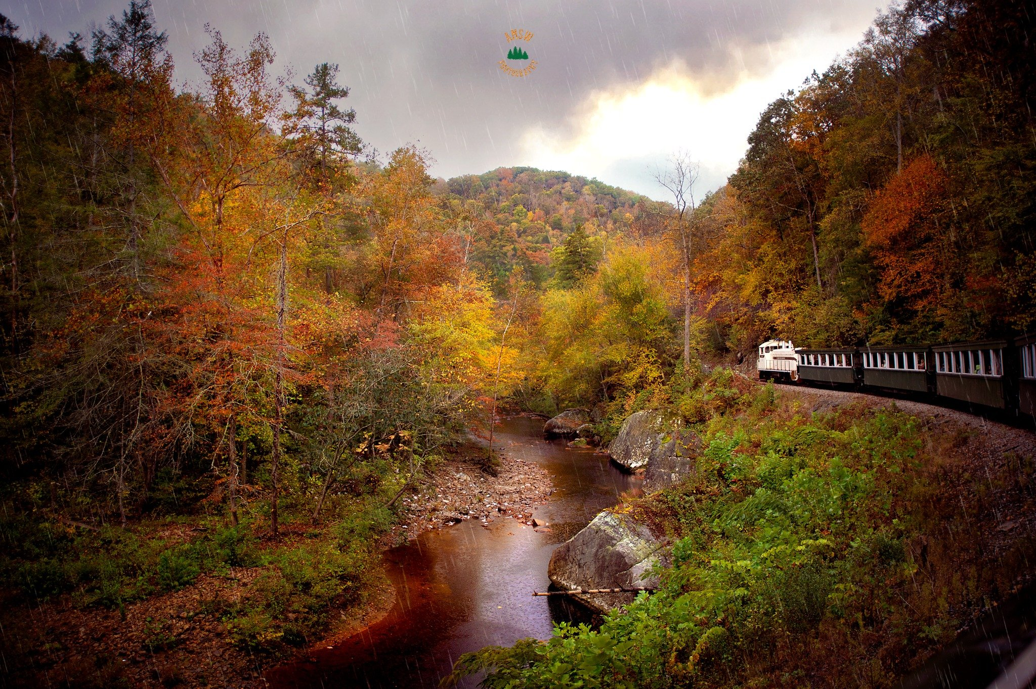 Big South Fork Railroad through the Appalachians in the fall color