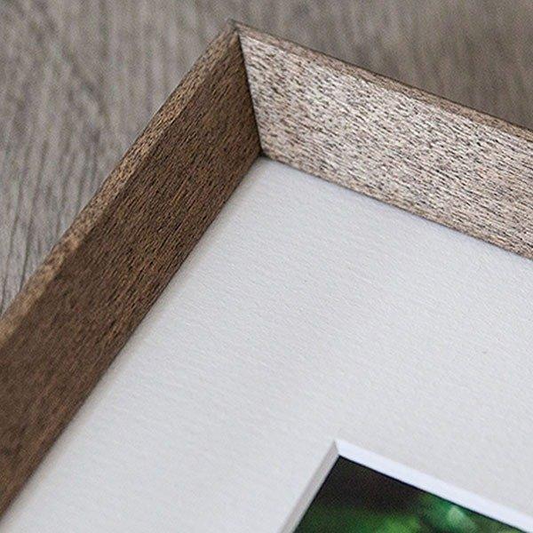 closeup of farmhouse grey frame and mat