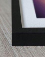 close up of corner of black frame