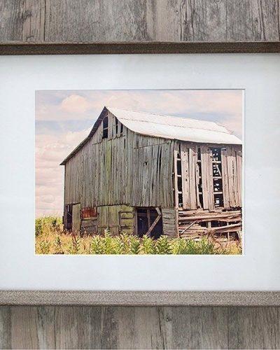 framed landscape photo of a rustic barn farmhouse grey frame