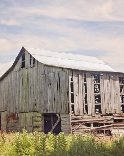 big barn pale gray and blue kentucky landscape photo