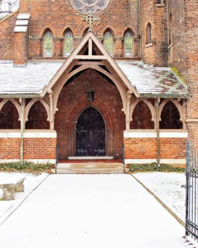 Medieval church in snow photo