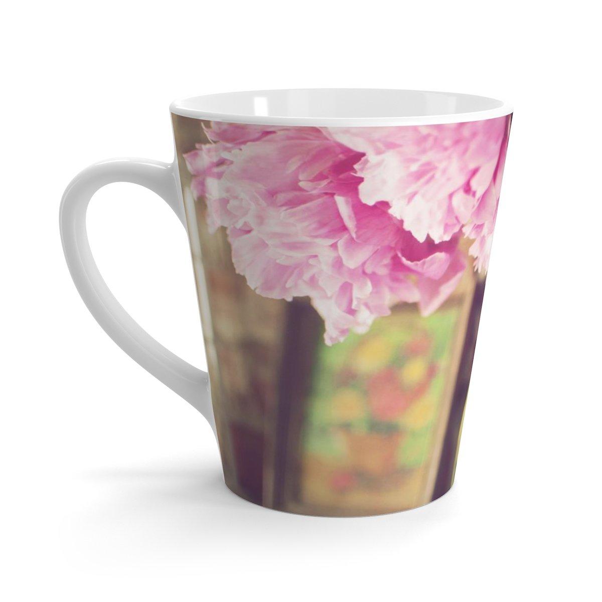 pink peony photo latte mug nature photo gift