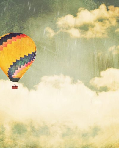 hot air balloon fine art print rainy sky