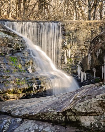 waterfall and ice on rocks photo amsw photography