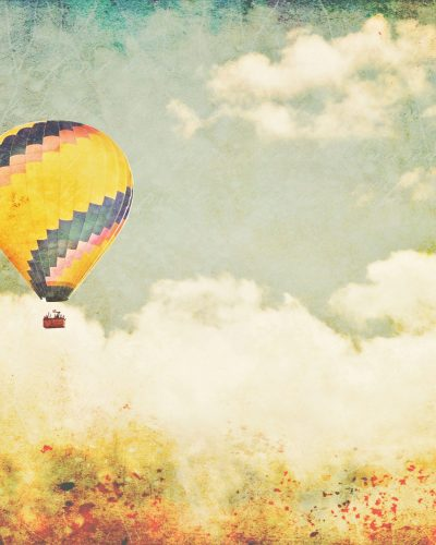 "fine art print yellow hot air balloon ""Storybook"""