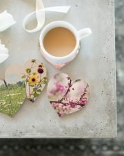 set of 4 wood heart coasters with sunflower, daisy, eastern redbud and rose photos